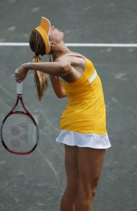 Tennis player at risk for shoulder impingement