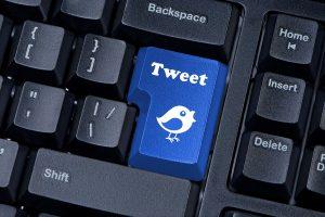 Tweet button on computer