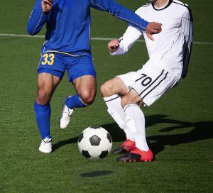 A patellar tendon tear can occur in soccer.
