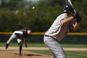 Baseball batter about to take pitch