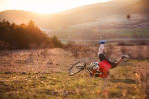 Biker falling to ground