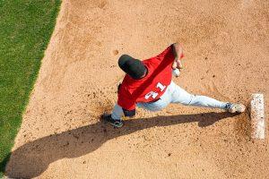 Pitcher baseball overhead throwing