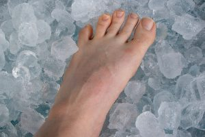 Foot on ice