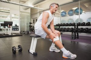 Man with pain from knee arthritis